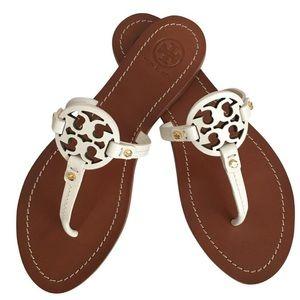 Tory Burch White Gabriel Mini Miller Sandals Sz 9